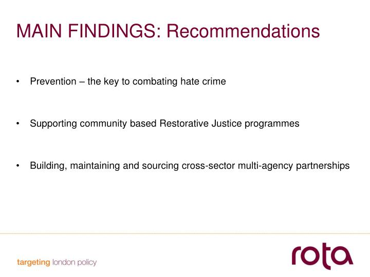 MAIN FINDINGS: Recommendations