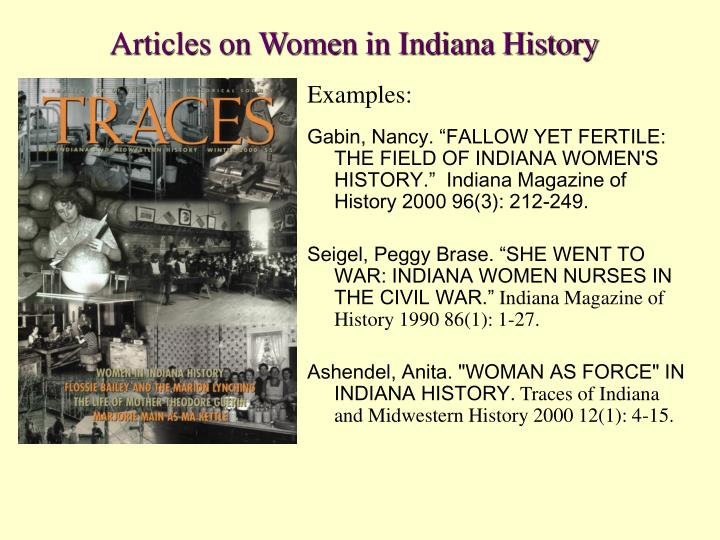 Articles on Women in Indiana History