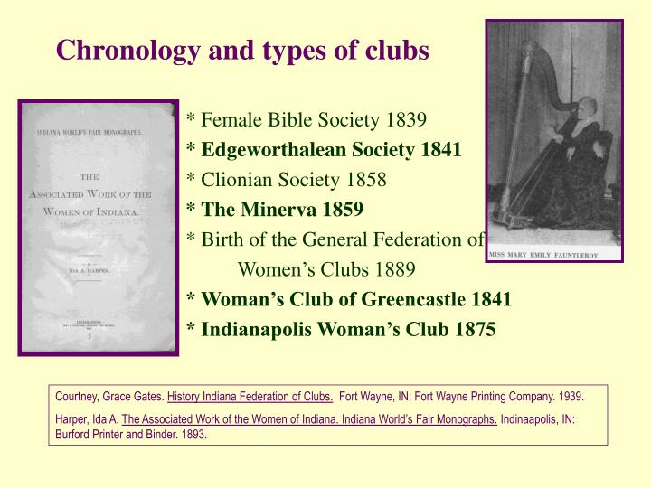 Chronology and types of clubs