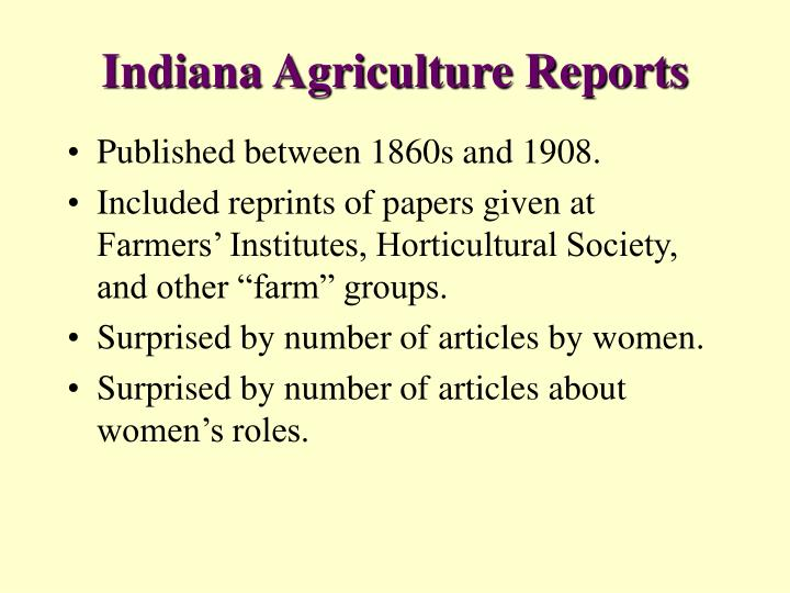 Indiana Agriculture Reports