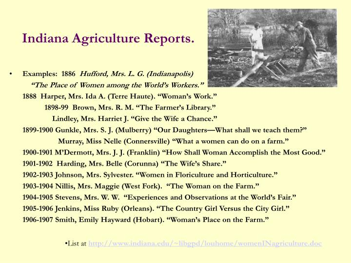 Indiana Agriculture Reports.