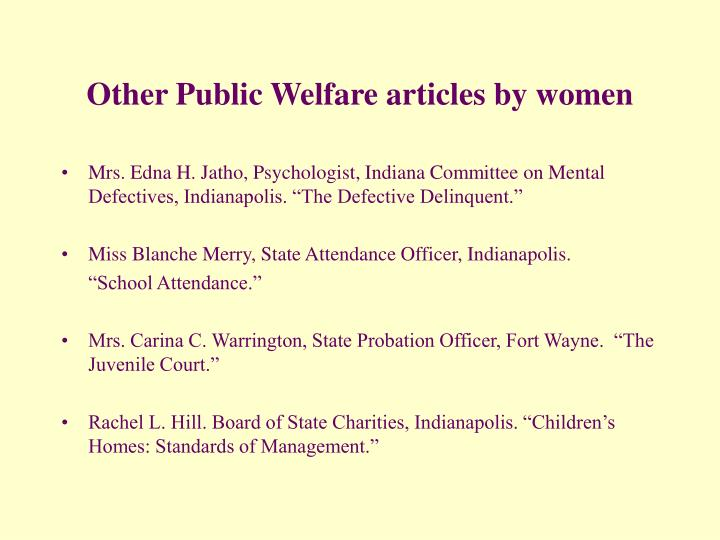 Other Public Welfare articles by women