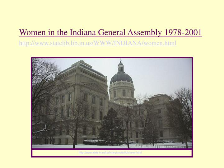 Women in the Indiana General Assembly 1978-2001