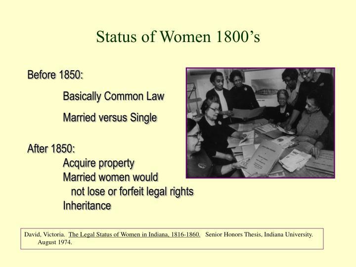 Status of Women 1800's