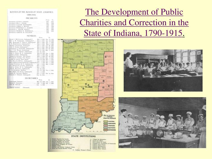 The Development of Public Charities and Correction in the State of Indiana, 1790-1915