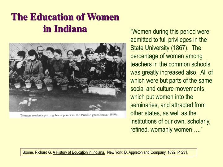 The Education of Women in Indiana
