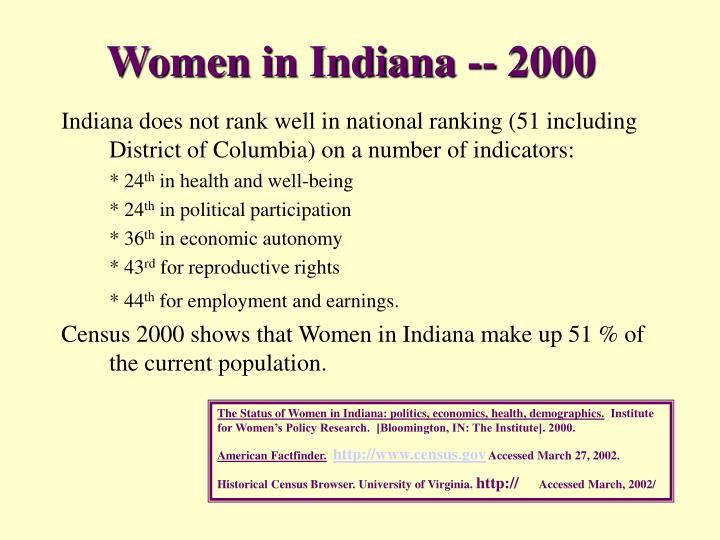 Women in Indiana -- 2000