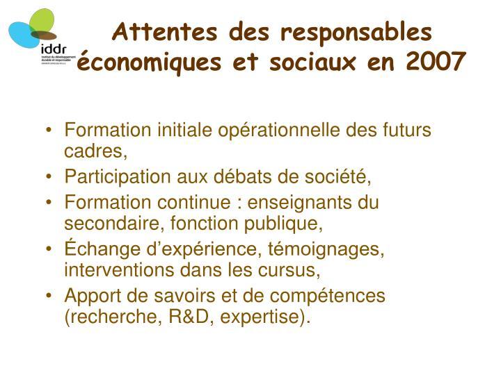 Attentes des responsables économiques et sociaux en 2007