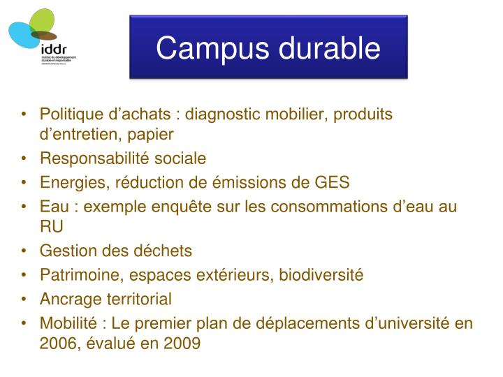 Campus durable