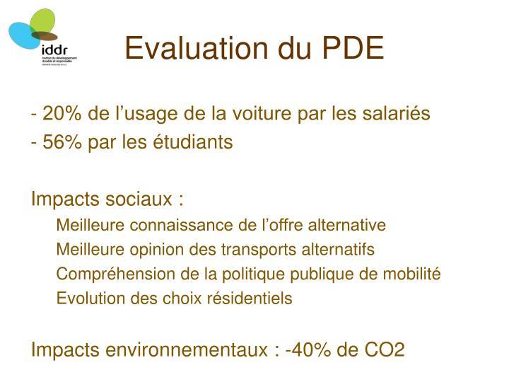 Evaluation du PDE