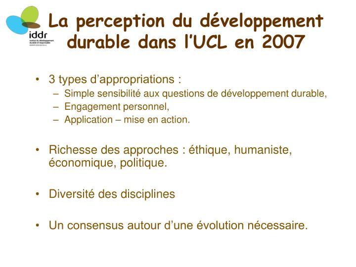 La perception du développement durable dans l'UCL en 2007