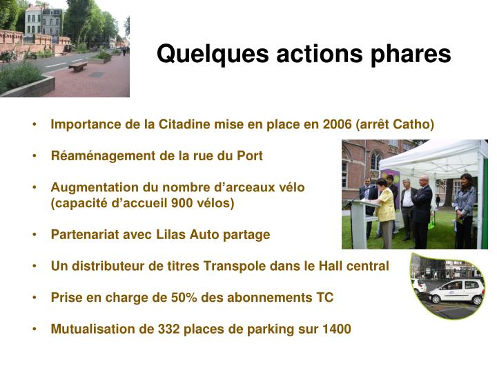 Quelques actions phares