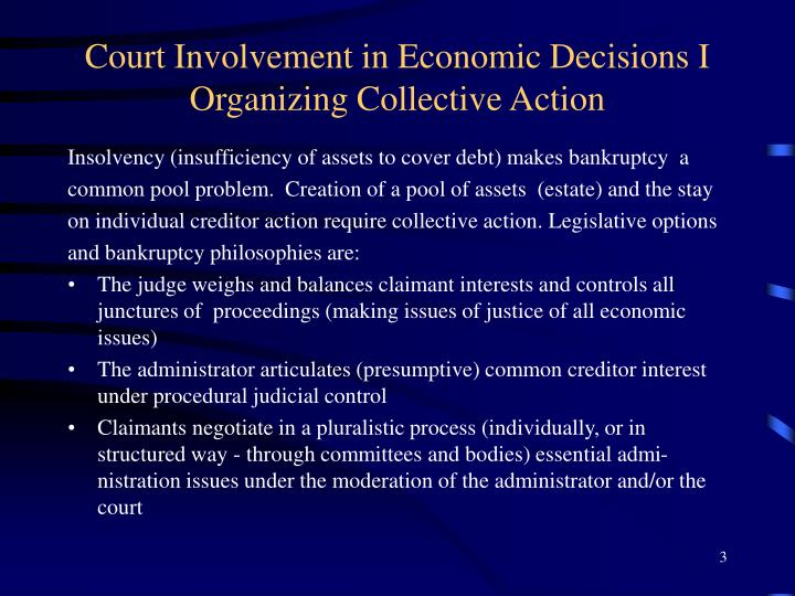 Court involvement in economic decisions i organizing collective action