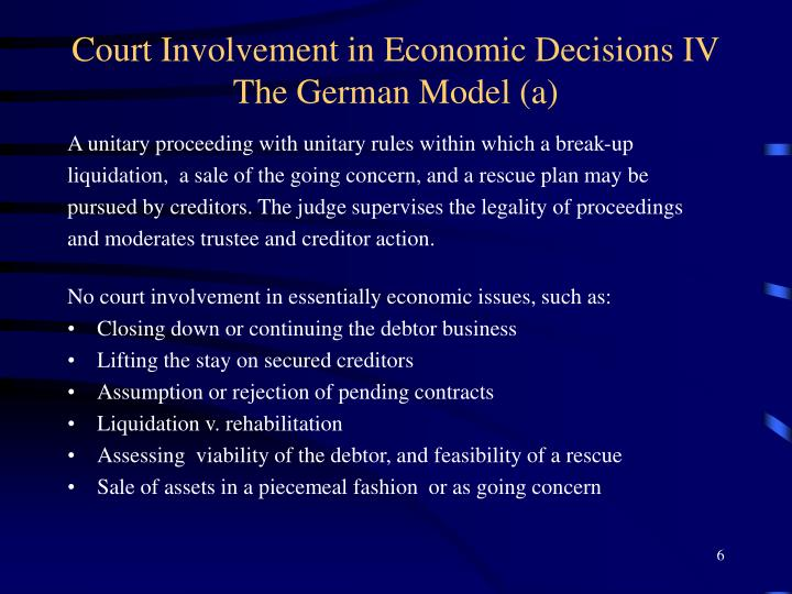 Court Involvement in Economic Decisions IV