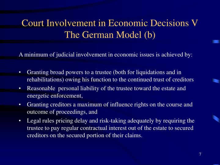 Court Involvement in Economic Decisions V