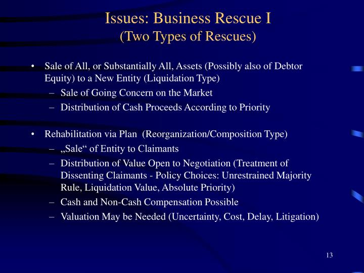 Issues: Business Rescue I