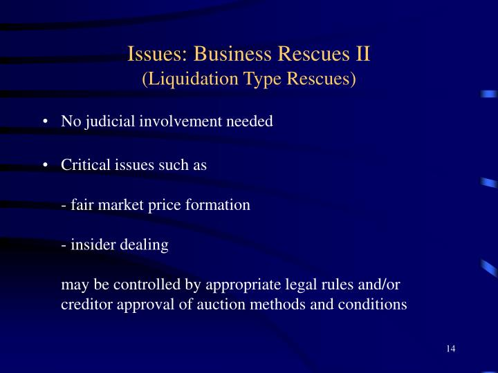 Issues: Business Rescues II