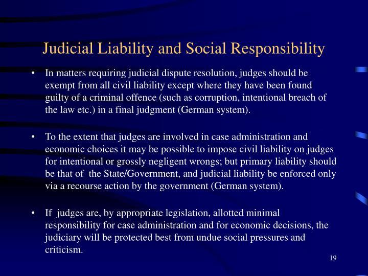 Judicial Liability and Social Responsibility