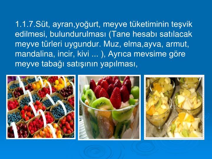 1.1.7.Süt, ayran,yoğurt, meyve tüketiminin teşvik edilmesi, bulundurulması (