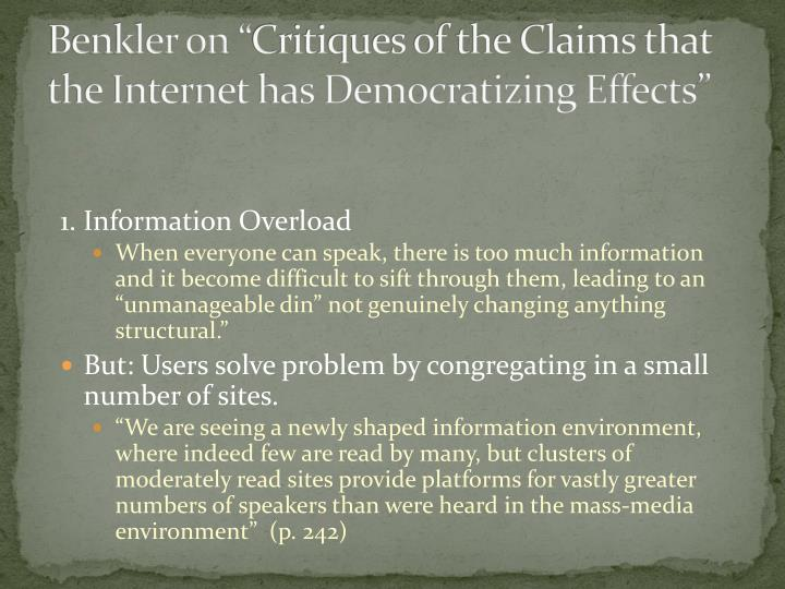 "Benkler on ""Critiques of the Claims that the Internet has Democratizing Effects"""