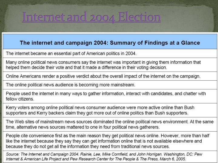 Internet and 2004 Election