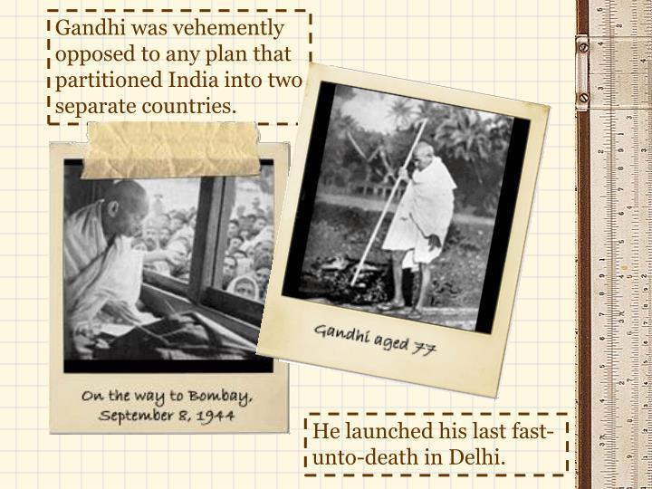 Gandhi was vehemently opposed to any plan that partitioned India into two separate countries.