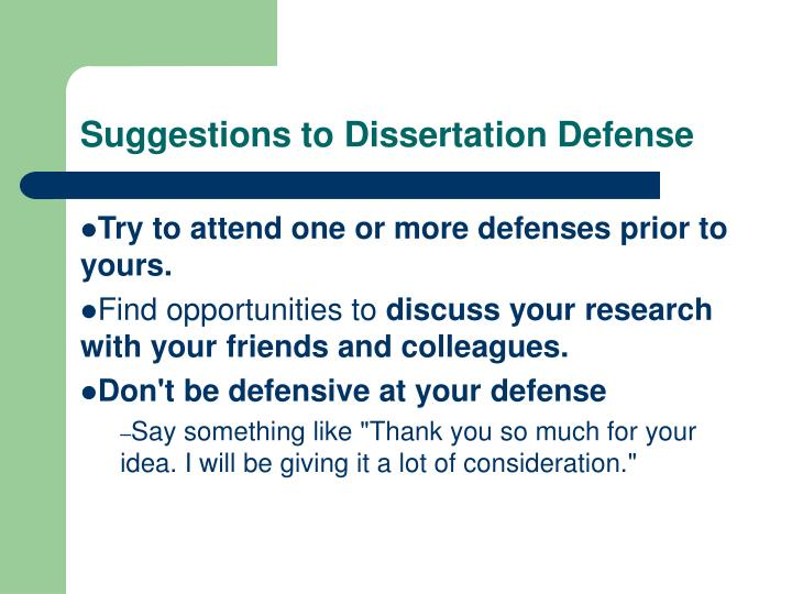 Dissertation defense suggestions
