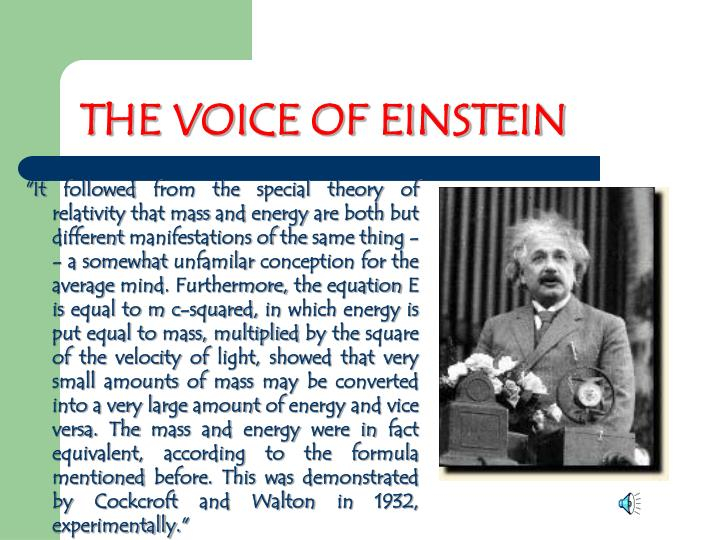 THE VOICE OF EINSTEIN