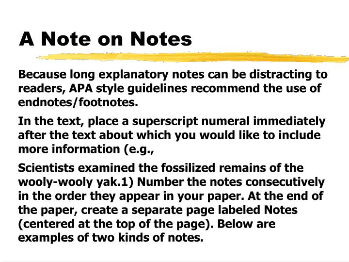 A Note on Notes