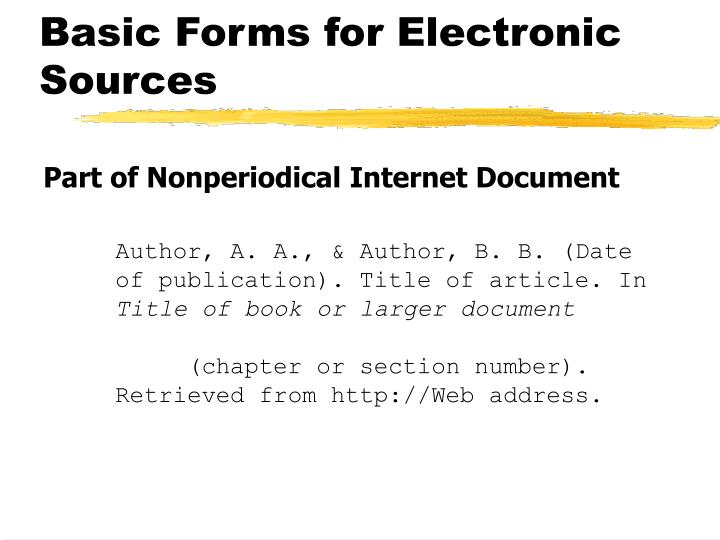 Basic Forms for Electronic Sources