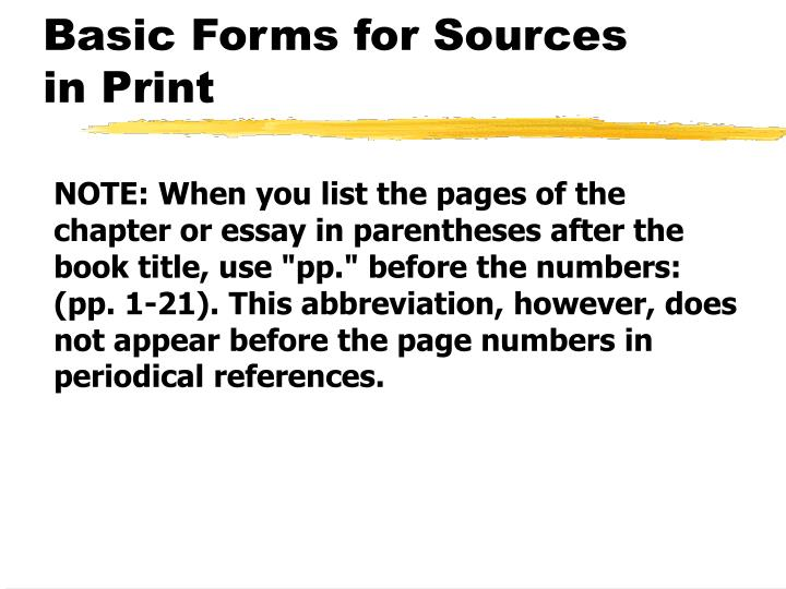 Basic Forms for Sources