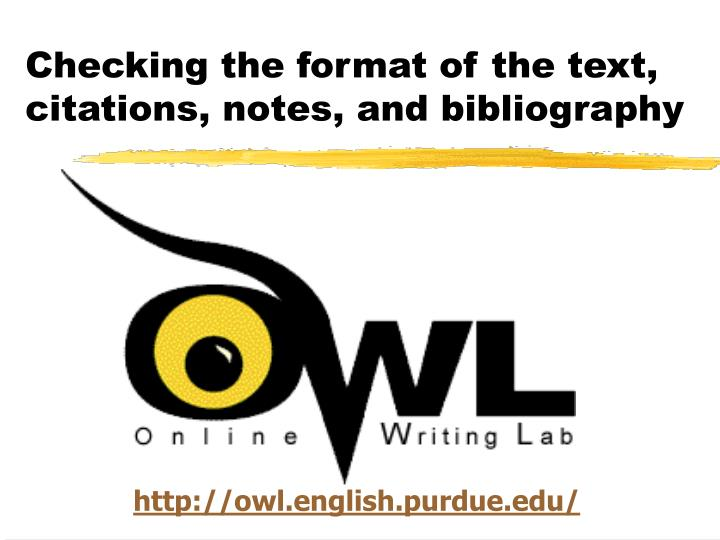 Checking the format of the text citations notes and bibliography