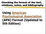 checking the format of the text citations notes and bibliography1