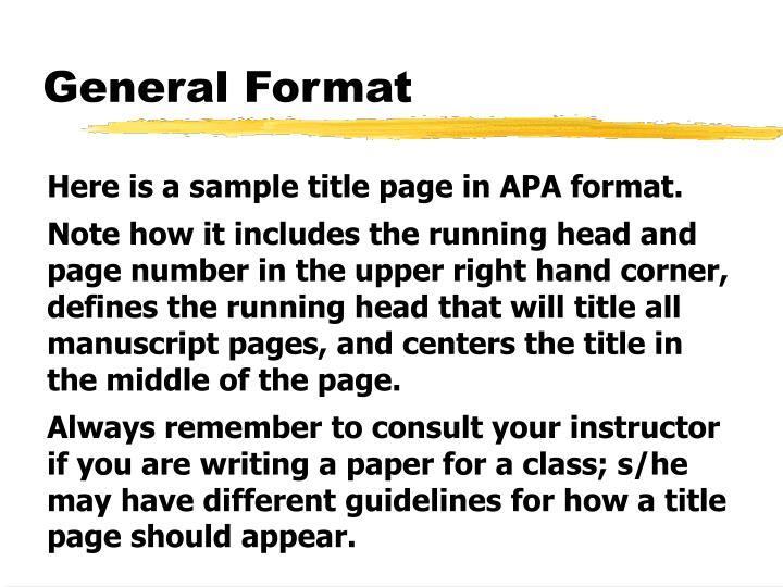 General Format