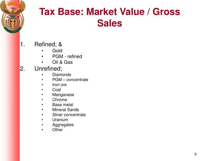 Tax Base: Market Value / Gross Sales