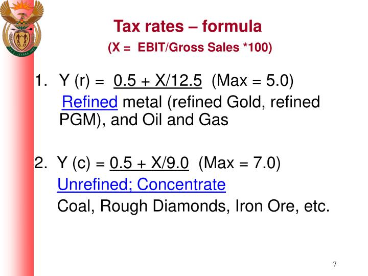Tax rates – formula