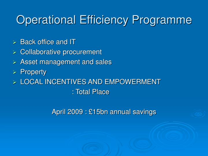 Operational Efficiency Programme