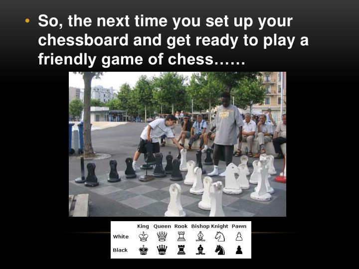 So, the next time you set up your chessboard and get ready to play a friendly game of chess……