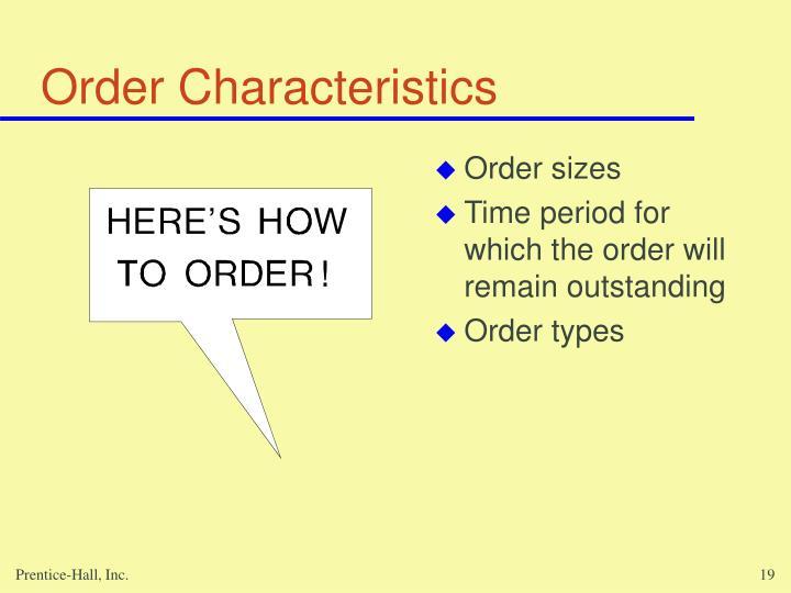 Order Characteristics