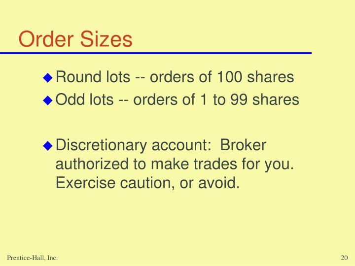 Order Sizes