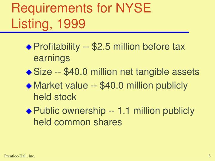 Requirements for NYSE Listing, 1999