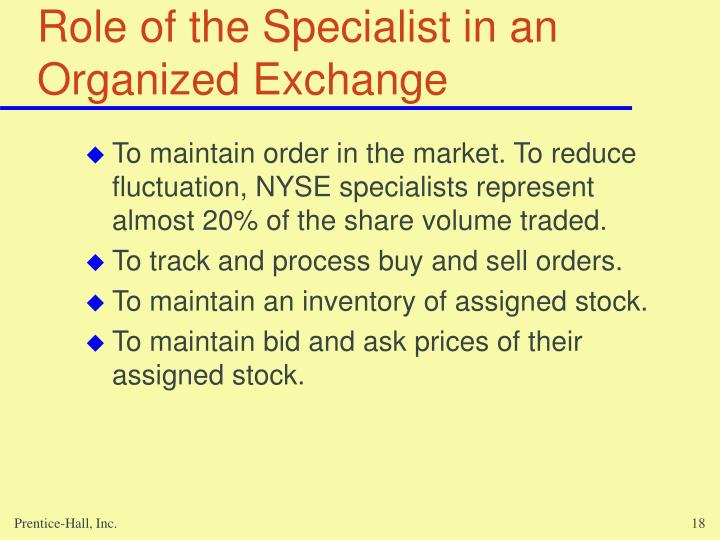 Role of the Specialist in an Organized Exchange