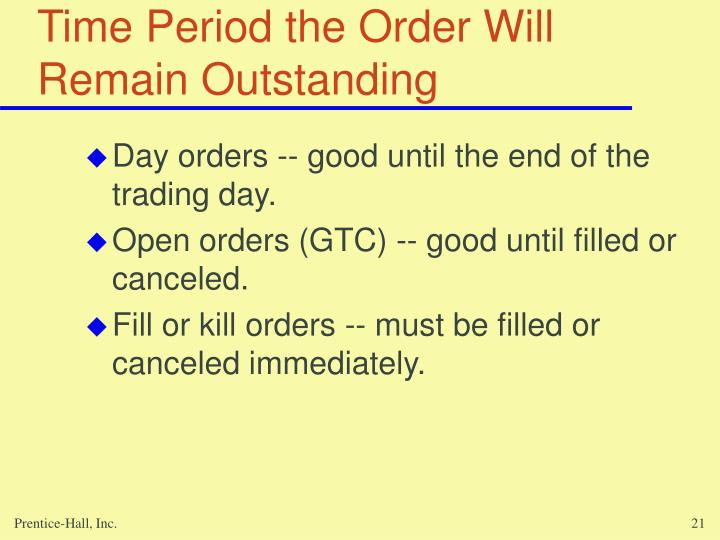 Time Period the Order Will Remain Outstanding