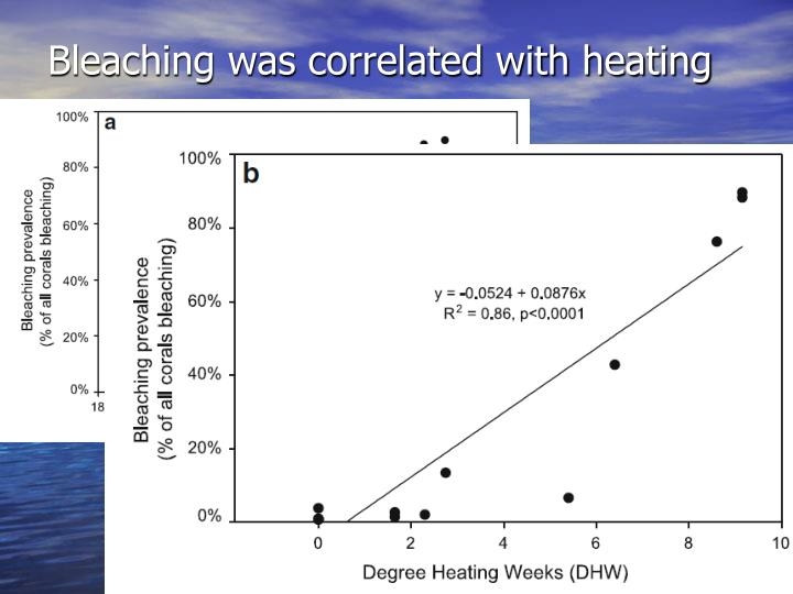 Bleaching was correlated with heating