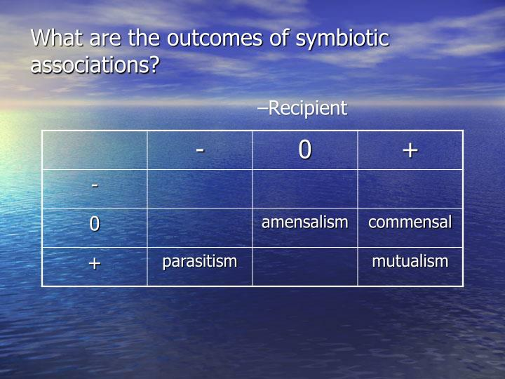 What are the outcomes of symbiotic associations?