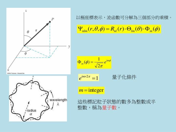 以極座標表示,波函數可分解為三個部分的乘積。