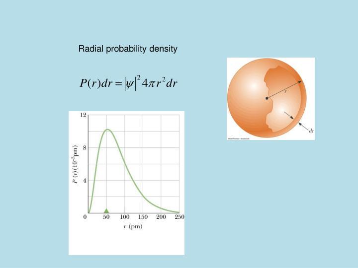 Radial probability density