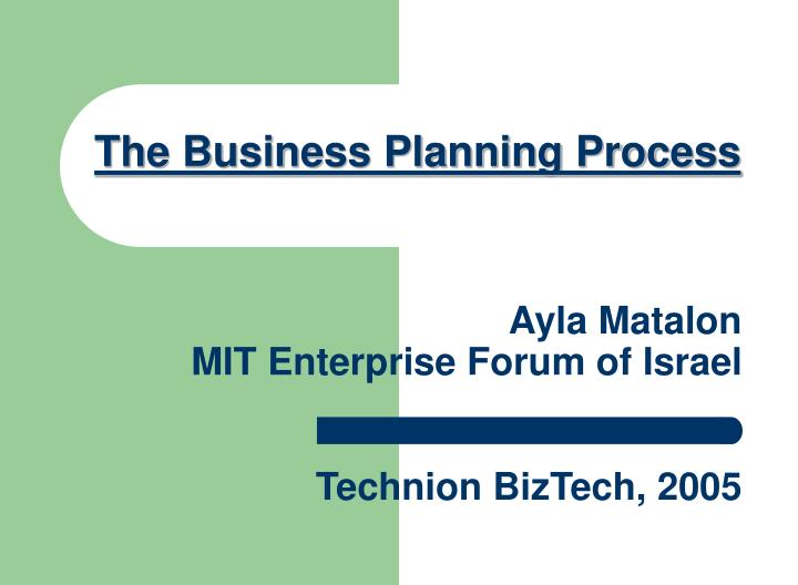 The Business Planning Process