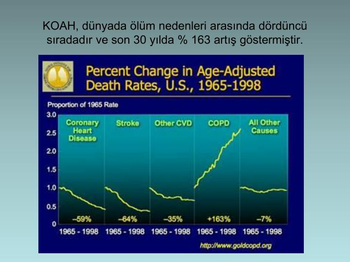 KOAH, dnyada lm nedenleri arasnda drdnc sradadr ve son 30 ylda % 163 art gstermitir.