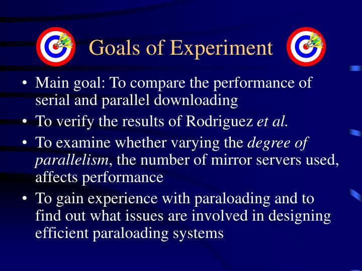 Goals of Experiment